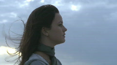 CU PROFILE OF A YOUNG WOMAN Stock Footage