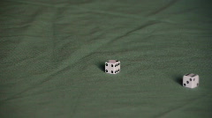 Play dice on green table cover / gamble / good luck / gaming Stock Footage