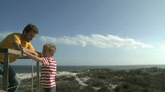 MS OF A FATHER AND SON OUTDOORS Stock Footage