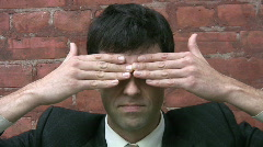 Businessman. See no evil. Stock Footage