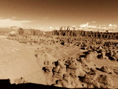 Stock Video Footage of Goblin Valley HS 03 Pan BW Sepia