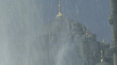 ZO OF THE BLUE MOSQUE THROUGH A FOUNTAIN Stock Footage