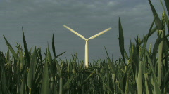 Zoom out  Wind turbine against sky green field in foreground Groningen the Nethe Stock Footage