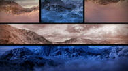 Stock Video Footage of (1130) Snowy Mountains Sunset Composition Loop