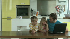 LS OF A MOTHER BRINGING HER FAMILY BISCUITS Stock Footage