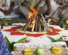 Fire ritual praying Stock Footage