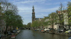 LS PAN OF PRINSENGRACHT CANAL Stock Footage