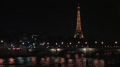 The Eiffel Tower and the Seine River Stock Footage