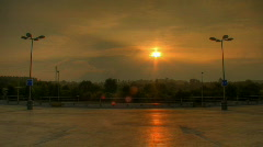 Sunset over parking lots hdr time lapse - stock footage