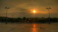 Stock Video Footage of Sunset over parking lots hdr time lapse