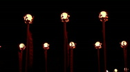 Red lanterns with red flags at night Stock Footage