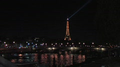 Eiffel Tower and the Seine river - stock footage