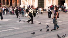 Businessman Walking in Italian Piazza Stock Footage