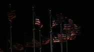 Stock Video Footage of American Flags Night HD