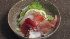 Japanese Sashimi Bowl Stock Footage