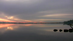 Calm waters at dawn Stock Footage