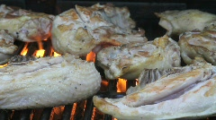 Chicken on a gas grill- close up Stock Footage