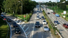 Autobahn Motorway Expressway highway Traffic Urban Smog air pollution - stock footage