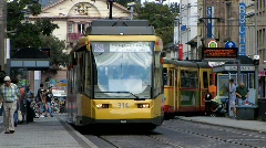 Germany Karlsruhe tram traffic in downtown - stock footage