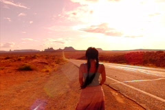 Monument Valley HS 09 Sunset Indian Girl : High Speed Camera Stock Footage