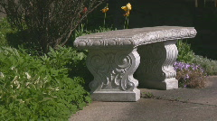 Closeup of a stone bench Stock Footage