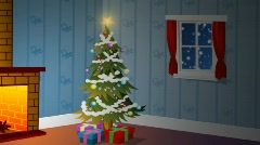 Christmas tree with snow (looping animation) Stock Footage
