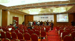Back view of auditorium conference Stock Footage