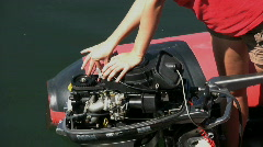 Fixing An Outboard Motor 2 Stock Footage