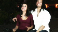 Stock Video Footage of Young lovers - park bench series - 3 - medium shots