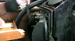 Old Style Printing Press Stopping - stock footage