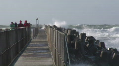 Storm-Wave-Pier-Denmark Stock Footage