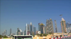 dubai skyline traffic pan - stock footage
