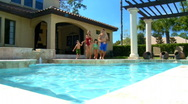 Family Pool Lifestyle Stock Footage
