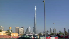 traffic at burj Khalifa Dubai - stock footage