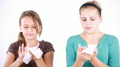 Girls wiping their hands Stock Footage