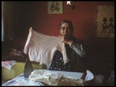 Grandma with laundry (vintage 8 mm amateur film) Stock Footage