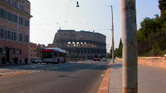 Colosseum and bus Stock Footage