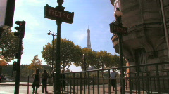 Paris Metro Entrance Stock Footage
