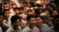 Stock Video Footage of Pan on People crowd, China - Vintage 8mm Film