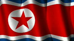 North Korea Flag Loop Stock Footage