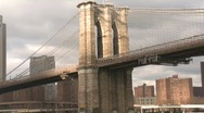 Stock Video Footage of Brooklyn Bridge passing