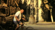 Stock Video Footage of 1970s China man on bicycle - Vintage 8mm Film