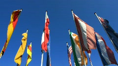 International flags in Baden-Baden Stock Footage
