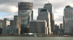 Stock Video Footage of approaching Manhattan financial area