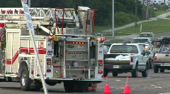 Fire Engine At The Scene of US-19 Car Crash Stock Footage