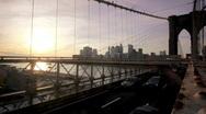 Brooklyn Bridge at sunset Stock Footage