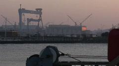 Shipyard-HDW-Sunset-Kiel Stock Footage