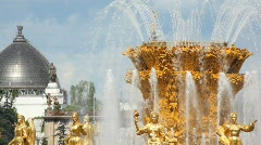 Top of fountain friendship at All-Russia Exhibition Centre, close up Stock Footage