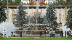 "Fountain ""Stone flower"" at All-Russia Exhibition Centre Stock Footage"