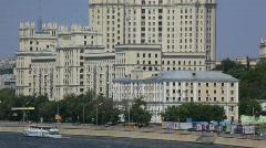 Tall soviet residential building on river bank,Kotelnicheskaya Naberezhnaya Stock Footage
